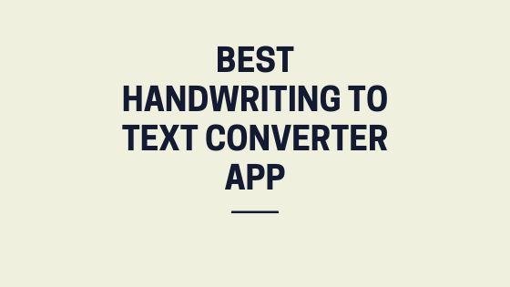handwriting to text