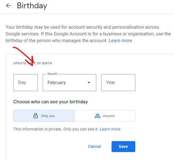 update the date of birth